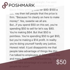 Honest Retail Ladies. Also read below. Promise I'm not being rude, just honest and disappointed. I don't intend on buying these items I see. I have $3 in my bank account. But I hate seeing people think it's ok to have the audacity to rip others off to make a quick buck. PINK Victoria's Secret Other