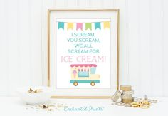 Ice Cream Party Sign - All Scream for Ice Cream - Printable art wall decor - Pastel illustrated art display - Instant download