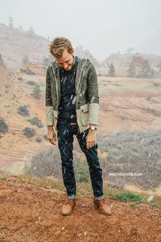 April 2, 2014. Zion National Park. Jacket: Topman - $20 (extreme sale)Sweater: Bremerhaven - Bonobos Jeans: American Eagle - $29Boots: Dune - Topman - $120 (similar)Watch: Timex Easy Reader - Target - $29 with ASOS watch strap
