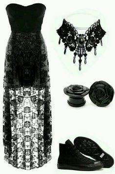 It's look cool Dark Fashion, Emo Fashion, Gothic Fashion, Fashion Outfits, Womens Fashion, Emo Dresses, Cute Dresses, Beautiful Dresses, Prom Outfits