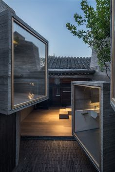 Micro-Hutong by ZAO/standardarchitecture features tiny concrete rooms installed by Zhang Ke in old Beijing hutong - Hotels Design Architecture Villa Architecture, Chinese Architecture, Architecture Details, Casas Containers, H Design, Modern House Design, Hostel, Exterior Design, Construction