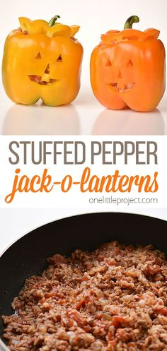 These stuffed pepper jack-o-lanterns make a fabulously healthy Halloween meal idea! They are surprisingly simple to make, and they look absolutely adorable! You can make the faces as spooky or as cheerful as you like. And best of all, you can make them a day in advance if you want, so all you'd have to do is bake them on the night you're having them. Healthy Halloween, Halloween Dinner, Halloween Recipe, Halloween Meals, Halloween Crafts, Happy Halloween, Side Dish Recipes, Lunch Recipes, Dinner Recipes