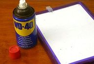 Restore dry erase boards: spray a clean board with wd40, wipe dry with paper towels. The wd40 fills in the dried pores of the board that hold in marker ink, making it easier to erase.