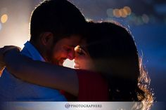 Very romantic. Love the effect with the light in the back.  Beautiful Heisler Park Laguna Beach Engagement | Neel and Ronak