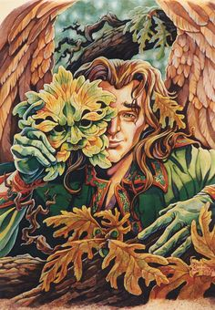 The Greenman Cernunnos/Herne the Hunter.Green Man by Artist Raine Szramski. Herne The Hunter, Holly King, Nature Spirits, Watercolor Animals, Back To Nature, Wiccan, Cool Art, Awesome Art, Illustration