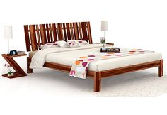 Wooden Double Bed, Double Beds, Double Bed With Storage, Wooden Street, Beds Online, Bed Storage, Teak, Stuff To Buy, Furniture