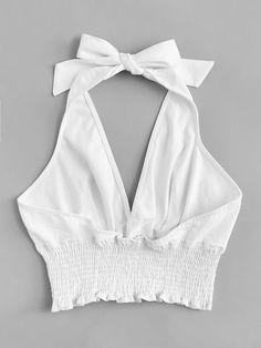 Deep V Neckline Frill Hem Halter TopFor Women-romwe Crop Top Outfits, Cute Casual Outfits, Simple Outfits, Stylish Outfits, Summer Outfits, Winter Outfits, Blouse Styles, Blouse Designs, Floral Designs