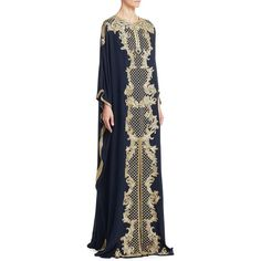 Marchesa Baroque Embroidered Caftan ($4,995) ❤ liked on Polyvore featuring tops, tunics, blue tunic, sleeve top, silk caftan, blue silk top and evening tops