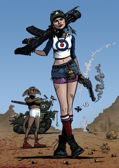Like the socks/bandaid (Kacey was talking beat up legs, scrapes, bruises, this made me think of it)...Tank Girl by AntSang