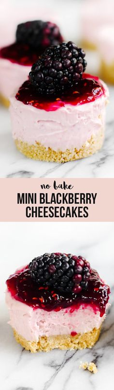 Adorable No Bake Mini Blackberry Cheesecakes are ultra fresh, vibrant, and simple to make with no oven (or even stove) required! Perfect for spring or summer.