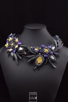 Primrose necklace with Swarovski elements and miyuki beads