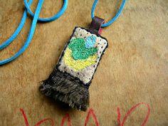 Talisman Textile Necklace Hand Embroidered Amulet par variousof, £15.00
