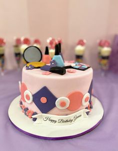 A beautiful makeup themed cake from a party hosted here at 💄 Party Places For Kids, Birthday Party Places, Cool Birthday Cakes, Birthday Parties, Glow Party, Spa Party, Retro Arcade Games, Birthday Themes For Boys, Halloween Party Themes