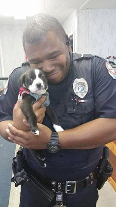 Officer Marcus Montgomery, of the Fort Walton Beach Police Department with his adopted pup Kylo at Panhandle Animal Welfare Society Cute Puppies, Cute Dogs, Dogs And Puppies, Doggies, Shelter Puppies, Animals And Pets, Funny Animals, Cute Animals, I Love Dogs