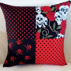 Red and Black Goth Skulls and Roses Cushion by LavenderBluDesigns, £22.00