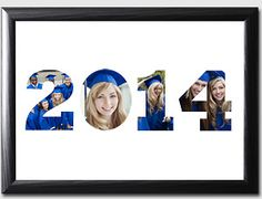 Create a handcrafted photo matte displaying the graduation year filled with photos of the graduate. You can print the photos at Kodak Picture Kiosk. #graduation #photography #ideas #diy #craft