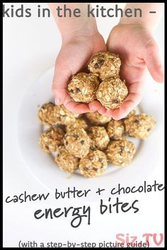 Kids in the Kitchen – Cashew Butter + Chocolate Energy Bites – Organics® Baby food Finger Foods For Kids, Healthy Snacks For Kids, Healthy Foods To Eat, Healthy Baking, Healthy Desserts, Eating Healthy, Baby Food By Age, Best Camping Meals, Camping Foods