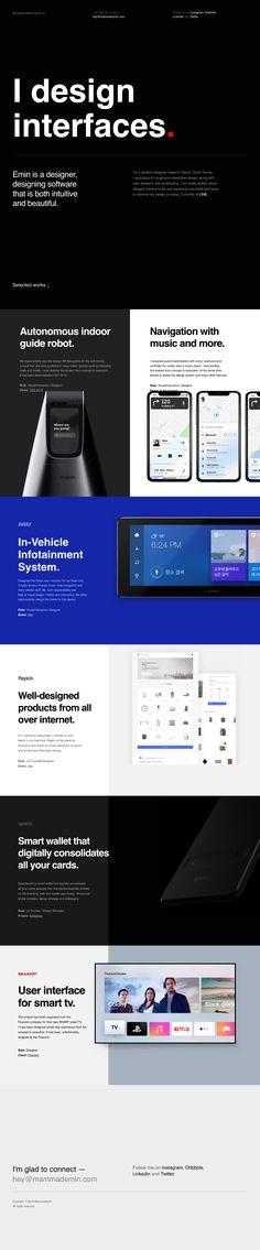 Mammad Emin landing page design inspiration - Lapa Ninja Website Design Layout, Web Layout, Layout Design, Mobile Web Design, App Design, Web Design Black, Graphic Design, Ui Web, Design System