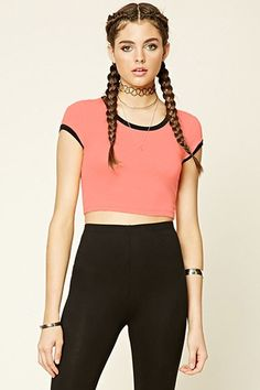 Marled Knit Ringer Crop Top