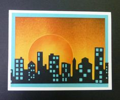 Memory Box Cityscape Silhouette die (98399) and Cityscape Nightline die (98398) by hobbydujour at Splitcoaststampers