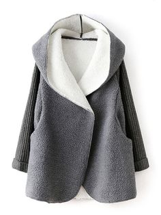 Buy Gray knitted Sleeve Faux Fur Hooded Coat from abaday.com, FREE shipping Worldwide - Fashion Clothing, Latest Street Fashion At Abaday.com