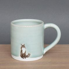 SKT Ceramics: Small Mug Small Fox Celadon, at 23% off!