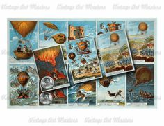 Vintage Early Balloon Flight Trading Cards Clip Art - Set of 20 Images…