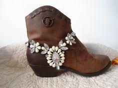 Boho Boot Bracelet Chunky Rhinestone Boot by LandofBridget on Etsy