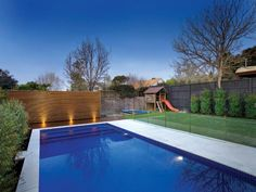 Dying for this kinda backyard.and still lots of space for kid to run around. Backyard Pool Landscaping, Pool Fence, Swimming Pools Backyard, Swimming Pool Designs, Grey Paving, Pool Paving, Outdoor Spa, Outdoor Areas, Outdoor Living