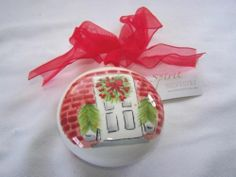 New Silvestri Demdaco House Door Christmas Glass Ornament Red Green Polka Dot