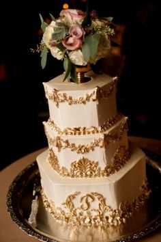Gold + White Wedding Cake