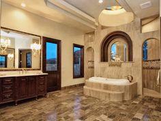 Lake Austin Elegant Master Bath with encased Jacuzzi Tub by Zbranek and Holt Custom Homes, Luxury Custom Homes Austin