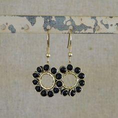 Beaded Sun Earrings - Black