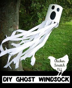 DIY Tin Can Ghost Windsock - MrsM Design - DIY Tin Can Ghost Windsock Get ready for Halloween with this DIY tutorial for a ghost windsock with ribbon and paint for a spooky friend straight from the recycle bin - Spooky Halloween, Theme Halloween, Halloween Crafts For Kids, Diy Halloween Decorations, Holidays Halloween, Halloween Costumes, Homemade Halloween Decorations, Outdoor Halloween, Diy Costumes