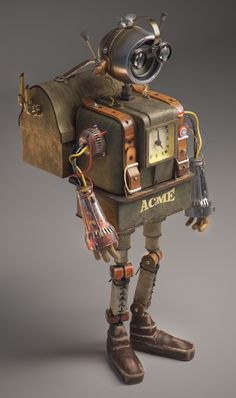 ArtStation - Acme, Anastasiia Radchenko Recycled Robot, Recycled Art, Art Of Dan, Steampunk Design, Steampunk Robots, Arte Robot, Retro Robot, Metal Art Projects, Found Object Art