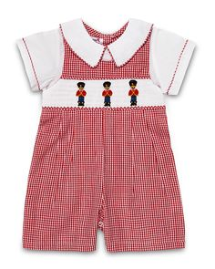 "Aurora Royal ""Baby's Guards"" Pure Cotton Shortsleeved Red Checked Playsuit."