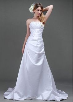 SIMPLE TAFFETA A-LINE STRAPLESS NECKLINE WEDDING DRESS LACE BRIDESMAID PARTY COCKTAIL GOWN FORMAL BRIDAL
