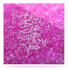 'Born with Glitter' Graphic Art Print on Metal