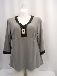 Elementz Jeweled Gray/Black 3/4 Sleeves V-Neck  Top Plus Size 1X  #Elementz #KnitTop #Career