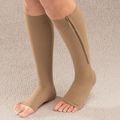 Compression Socks with Zipper Leg Support Knee Stockings and Open Toe Compression Stockings, Compression Sleeves, Open Toe Socks, Achy Legs, Anti Fatigue, Varicose Veins, High Knees, Spandex, Types Of Shoes