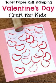 Cute Valentine's Day Craft for Kids - Heart stamping using an old toilet paper roll and paint.