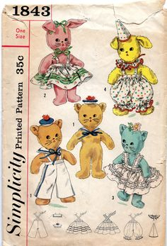 Simplicity 1843 1950s Stuffed Animals Pattern Cat, Dog and Bunny and by mbchills, vintage 50s sewing pattern