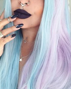 Get 10% off all body jewelry at www.throwbackannie.com with code: PINTEREST ! Multiple piercings are a super fashion trend right now.. forget goth piercings - fashion piercings are where its at! Flawless make up with septum piercing , medusa piercing and nose ring! Dark purple lipstick is so chic with matching nails! We're crushing' on rainbow hair with body piercings