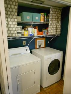 Hiding Ugly Wire Laundry Room Shelves With Many Panels