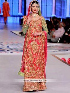 Heavy emebllished bridal #lehenga dress for women, full sleeves, round neck long #bridal shirt comes with embellished bridal lehenga and bridal dupatta http://www.needlehole.com/heavy-emebllished-bridal-lehenga-dress-for-women.html Shop bridal lehenga dresses of pakistan by nomi ansari. Latest bridal wear dresses, wedding lehngas for pakistani #bride and lehengas for kids by #nomi ansari in london