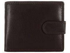 Dark Brown Finest Natural Cowhide Leather Press-Stud Wallet  Pure Luxuries