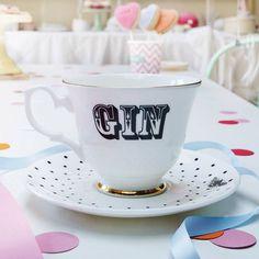 'gin' tea cup and saucer by yvonne ellen   notonthehighstreet.com