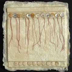 """Dancing Pearls by Michelle Belto Wax, Damar, Buttons, Thread ~ 16"""" x 16"""""""