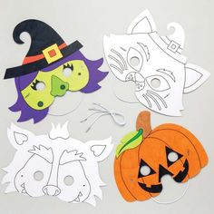 Halloween Colour-in Masks Halloween Treats For Kids, Halloween Crafts, Halloween Coloring, Toy Craft, Craft Supplies, Masks, Colour, Toys, Color