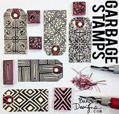 from the Balzer Designs Blog: More Garbage Stamps